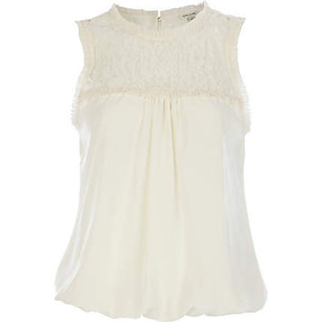 White lace insert sleeveless top