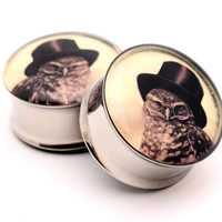 Steampunk Owl Picture Plugs gauges  00g by mysticmetalsorganics