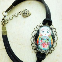 Antique Russian Doll Matryoshka Glass Black Leather Suede Bracelet