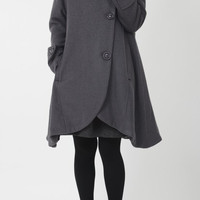Gray cloak wool coat Hooded Cape women Winter wool coat by MaLieb