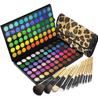 120 Color #1 Eyeshadow Palette + 12 pcs Makeup Brush African Leopard (#89A#177L)
