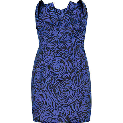 Blue printed Lashes of London strapless dress