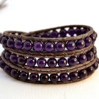 Chan Luu inspired leather wrap bracelet. Triple wrap rustic elegant beaded amethyst bracelet.