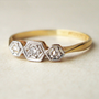 Art Deco Diamond Honeycomb Ring, 18k Gold &amp; Platinum Geometric Diamond Ring, Antique Diamond Engagement Ring, Approximate Size US 6