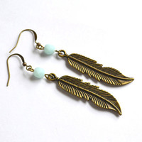 Large Feather Earrings. Mint Czech Glass Bead with Feather Charm. Bohemian Style Feather Jewelry. Canadian Shop