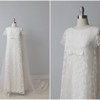 1960s Wedding Dress / 60s Bridal Gown / Lace Sheath Dress with Train / Simple Elegance