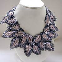 The Magnolia Botanical Necklace- Slate & Blush Petals