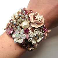 Custom Made - Bridal Cuff bracelet - wedding jewelry - statement piece - made to order in the colours of your choice - OOAKjewelz Couture