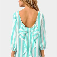 Waldorf Bow Blouse - Mint/White