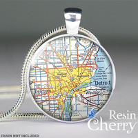 Detroit map pendant charms,Detroit map resin pendants,Michigan- M0416CP