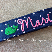 PREPPY WHALE Personalized KeyChain / Monogrammed Wristlet Fabric Key Fob / Camera strap / Bag Tag / Luggage Strap