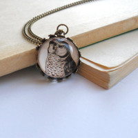 Beige Owl Necklace - Boho jewelry - Vintage style ephemera jewelry - Free shipping - Valentines jewelry