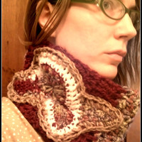 Crochet cowl / Wool cowl /  Burgundy cowl / Free form crochet / winter accessory /  coupon code- JANUARYFREESHIPPING
