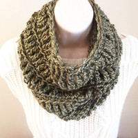 Cowl/Circular Scarf in Fern Green on Etsy by ByTheLakeCrochet