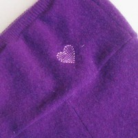Purple Cashmere Longies with Decorative Pink Heart in Size 3T