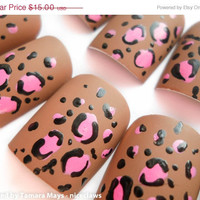 ON SALE Pink Leopard Print on Matte Brown, Nails in Medium Length