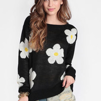 Miss Daisy Printed Sweater - $42.00 : ThreadSence, Women's Indie & Bohemian Clothing, Dresses, & Accessories