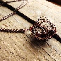 Necklace Pearls Entrapped in Brown and Copper Wire by RustyKeys
