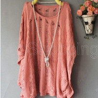 New Womens Batwing Loose...