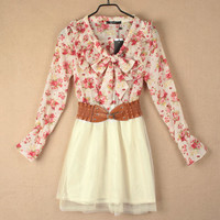 New Summer Floral Long Sleeve Chiffon Girls Cute Mini Dress With Belt