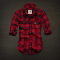 NWT~! S Hollister HCO Abercrombie Women FallBrook Plaid Button Down Blouse Shirt