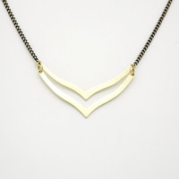 Geometric Raw Brass Chevron Necklace - Wishbone Necklace - Modern Raw Brass Jewelry  - Black Brass Chain