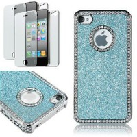 Amazon.com: Pandamimi Deluxe blue Chrome Bling Crystal Rhinestone Hard Case Skin Cover for Apple iPhone 4 4S 4G With 2 Pcs Screen Protector: Cell Phones & Accessories