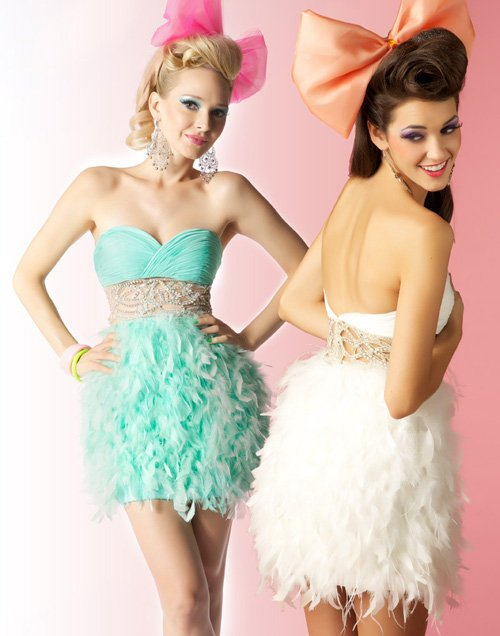 Mint Gathered Chiffon & Feather Beaded Cut Out Empire Waist Short Prom Dress - Unique Vintage - Cocktail, Evening  Pinup Dresses