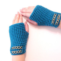 Teal Crochet Fingerless Gloves, Adult fingerless gloves, Wrist warmer, Winter gloves, valentine gifts,