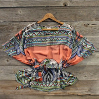 Fabeled Sky Blouse in Coral, Sweet Country Inspired Clothing