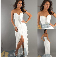 Stock White Woman&#x27;s Evening Dress Formal Prom Gowns Bridesmaid Wedding Dresses
