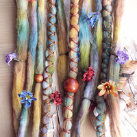 Flower Maiden Custom Order Tie-Dye Multi Color Wool Dreads with X-Cross Wrap & Beads Bohemian Hippie Dreadlocks Synthetic Boho Extensions