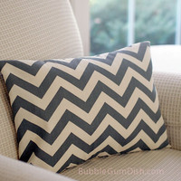 Chevron Home Decor Pillow Cover Cream Cotton Charcoal Gray ZigZag 12x16