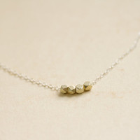 Tiny faceted brushed gold beads on sterling silver chain necklace - dainty minimal jewelry by AmiesAmies