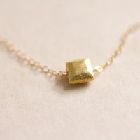 Tiny gold brushed square on gold filled chain necklace - simple everyday jewelry by AmiesAmies