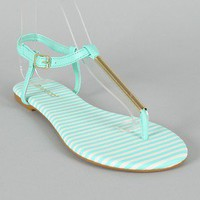 Bamboo Macalen-06 Leatherette Metallic T-Strap Flat Sandal