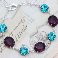 Peacock Wedding Jewelry Bracelet Bridesmaids Matching Vintage Teal Purple Amethyst - Vintage Jewels