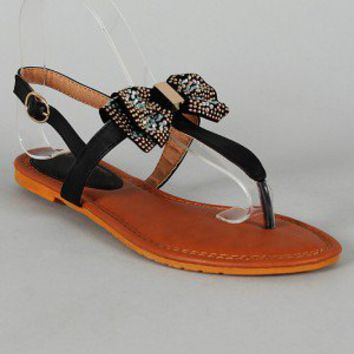 Hermia-4 Jeweled Bow Tie T-Strap Flat Sandal