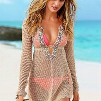 Linen Beaded Cover-up Sweater - Victoria's Secret