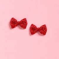 Cherry Bow-mb Red Bow Earrings