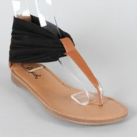 Qupid Agency-186 Chiffon T-Strap Flat Sandal