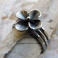 Flower Stacking Rings, Sterling Silver