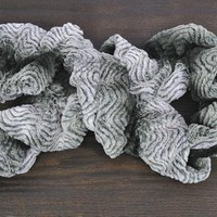 Save 52% on Black and White Plush Ruffle Scarf by Luxe Junkie