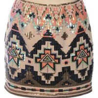 Multi Color Aztec Sequin Mini Skirt
