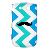 NEW Geeky Mustache on Blue Chevron BlackBerry Torch 9800 9810 Hardshell Case Cover BB Torch 9800 9810 Case - Available for other type of BB