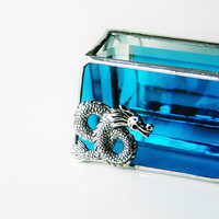 Stained Glass Box Turquoise Peackock Blue 2x3 Box w/ Detailed Dragon