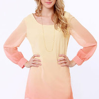 Roll the Dyes Beige and Coral Ombre Dress