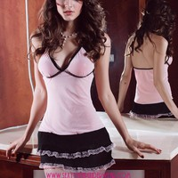 cheap Pink Beauty Babydoll and Thong - Sexy Lingerie : 19.69