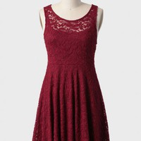 true desire lace dress in burgundy at ShopRuche.com