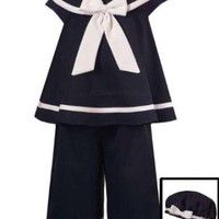 Amazon.com: Rare Editions Toddler Girls 2T-4T Navy Sailor Nautical 3-Piece Capri set: Clothing